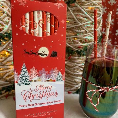 Santa & Reindeer Christmas Paper Drinking Straws - Box of 38