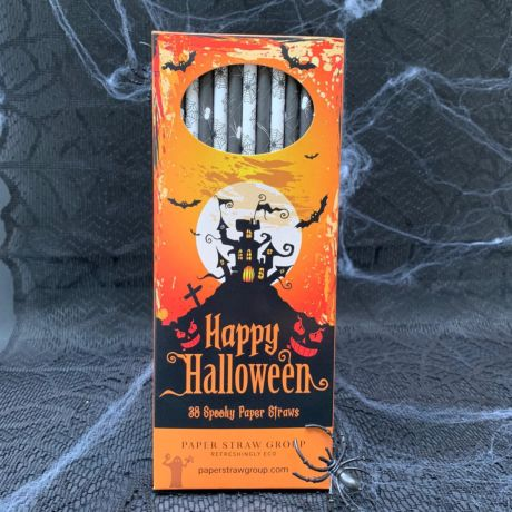 Halloween Spiders & Webs Paper Straws - Pack of 38 Straws