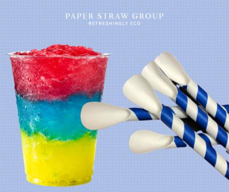 Blue & White Stripe Super Strength Spoon Straw 4 Ply 8mm x 200mm