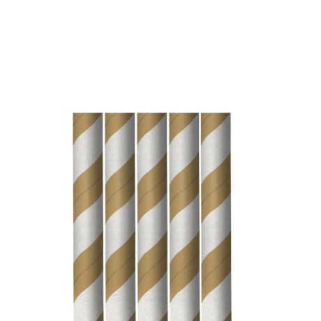 Kraft and White Striped Wide Paper Drinking Straw 200x10mm - Wholesale