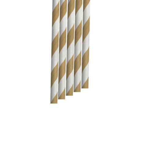 Kraft and White Striped Narrow Paper Drinking Straw 200x6mm - Wholesale