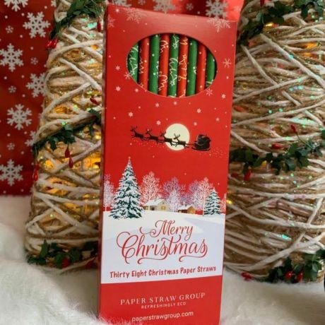 Christmas Tree Paper Drinking Straws - Box of 38