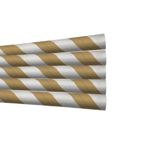 Kraft and White Striped Extra Long Wide Paper Drinking Straw 240x10mm - 4 Ply