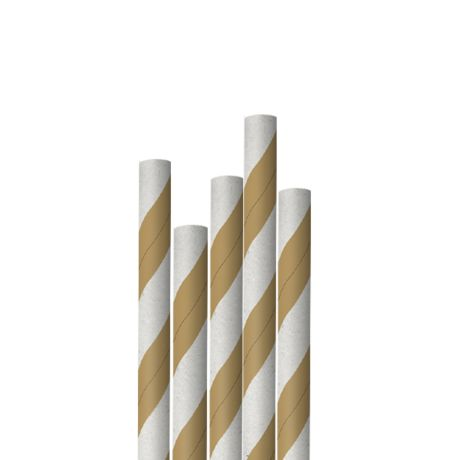 Kraft and White Striped Extra Long Narrow Paper Drinking Straw 240x6mm - Wholesale