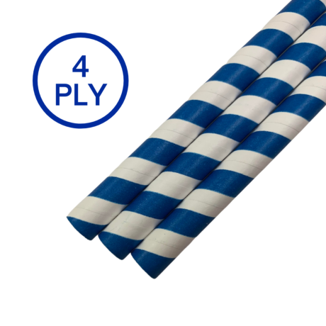 Blue & White Stripe, 4 PLY Super Strength Paper Drinking Straw 10MM x 200MM