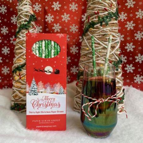 Snowflake Christmas Paper Drinking Straws - Box of 38