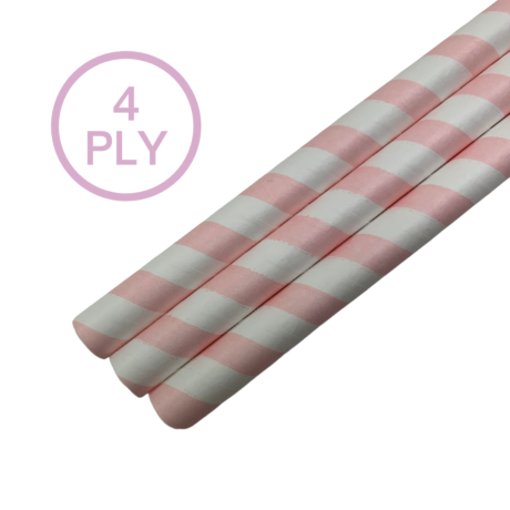 Pink & White Stripe, 4 PLY Super Strength Paper Drinking Straw 10MM x 200MM