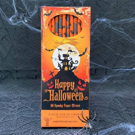 Halloween Bats & Pumpkin Paper Straws - Pack of 38 Straws