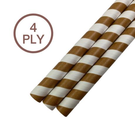 Eco Kraft & White Stripe, 4 PLY Super Strength Paper Drinking Straw 10MM x 200MM
