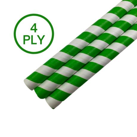Green & White Stripe, 4 PLY Super Strength Paper Drinking Straw 10MM x 200MM