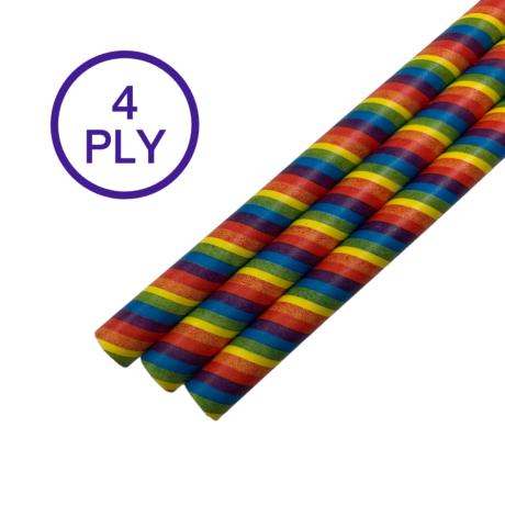 Rainbow Stripe, 4 PLY Super Strength Paper Drinking Straw 10MM x 200MM