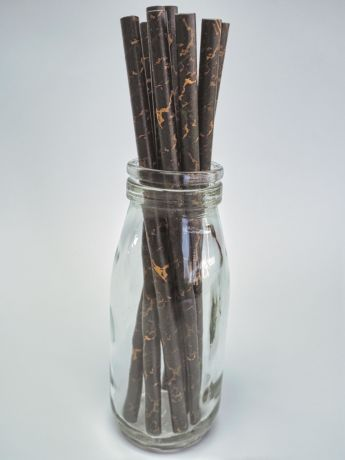 Black Marble Paper Drinking Straw 200x6mm - Wholesale