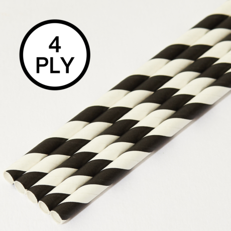 Black & White Stripe, 4 PLY Super Strength Paper Drinking Straw 8MM x 200MM