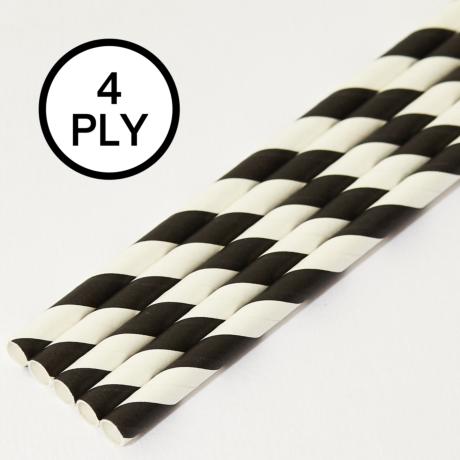 Black & White Stripe, 4 PLY Super Strength Paper Drinking Straw 8MM x 200MM