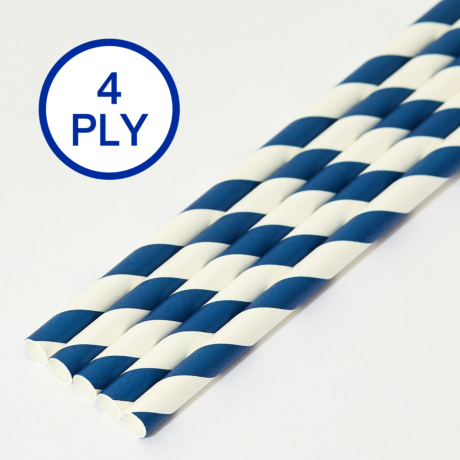 Blue & White Stripe, 4 PLY Super Strength Paper Drinking Straw 8MM x 200MM