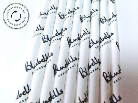 Branded White Narrow Paper Drinking Straw 200x6mm - Wholesale