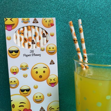 Emoji Paper Straws - Pack of 38 Straws