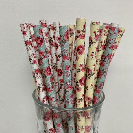 Vintage Flower Paper Straws - Mixed Flower Straws 8mm x 200mm