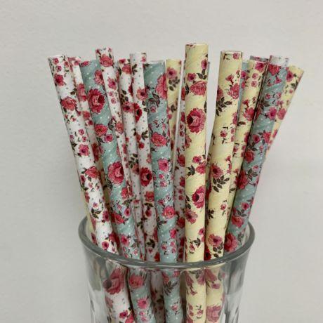 Vintage Flower Paper Straws - Mixed Flower Straws 8mm x 200mm