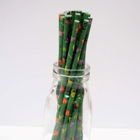 Jungle animals party paper straws 6x200mm - At Home and Party Use