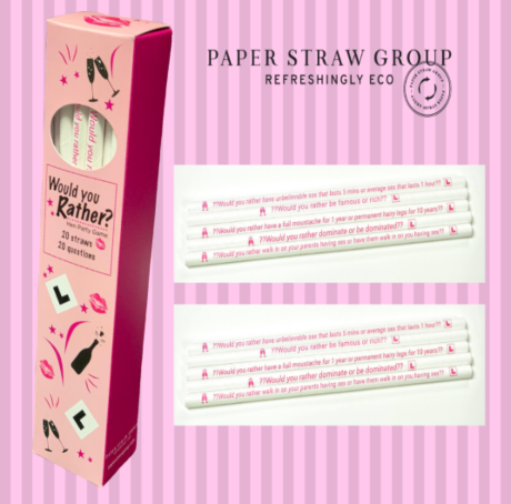 8mm x 200mm 'Would You Rather' Hen Party Straw Game - Box of 20 Straws, 20 Questions