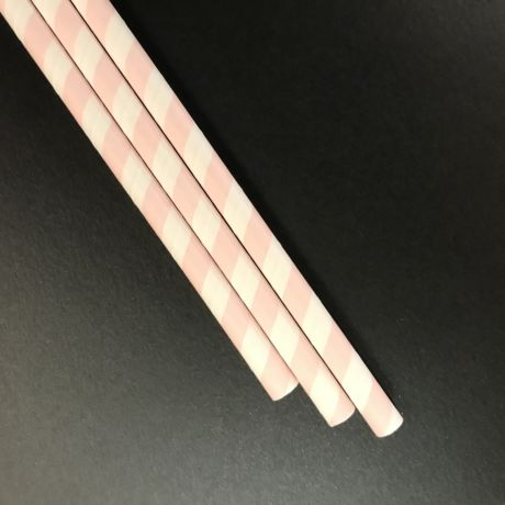 Pink & White Stripe Paper Drinking Straw 8mm x 200mm