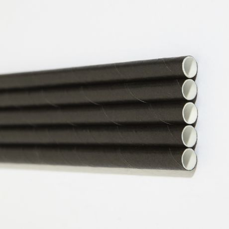 Black Extra Long Wide Paper Drinking Straw 240x10mm - Wholesale