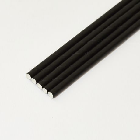 Black Paper Drinking Straw 200x8mm - At Home and Party Use