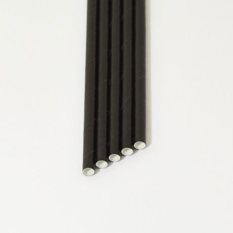 Black Narrow Paper Drinking Straw 200x6mm - Wholesale