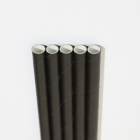 Black Wide Paper Drinking Straw 200x10mm - Wholesale