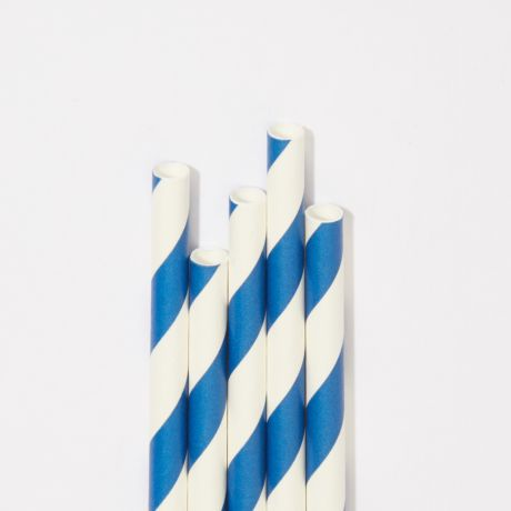 Blue and White Striped Extra Long Narrow Paper Drinking Straw 240x6mm - Wholesale