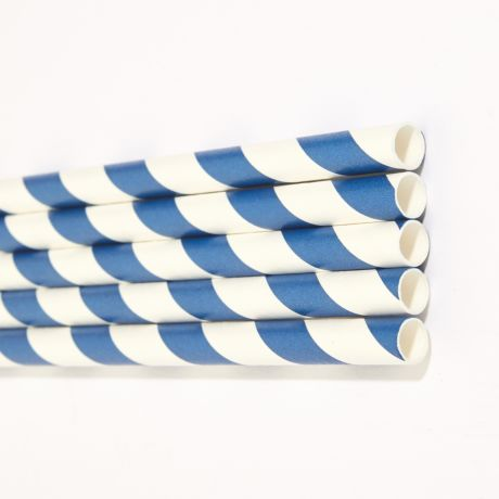 Blue and White Striped Extra Long Wide Paper Drinking Straw 240x10mm - Wholesale