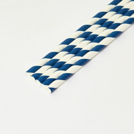 Blue and White Striped Medium Paper Drinking Straw 200x8mm - Wholesale