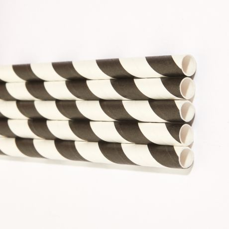 Black and White Striped Extra Long Wide Paper Drinking Straw 240x10mm - Wholesale