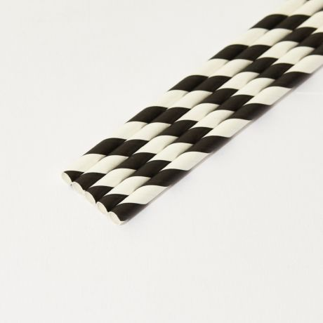 Black and White Striped Medium Paper Drinking Straw 200x8mm - At Home and Party Use