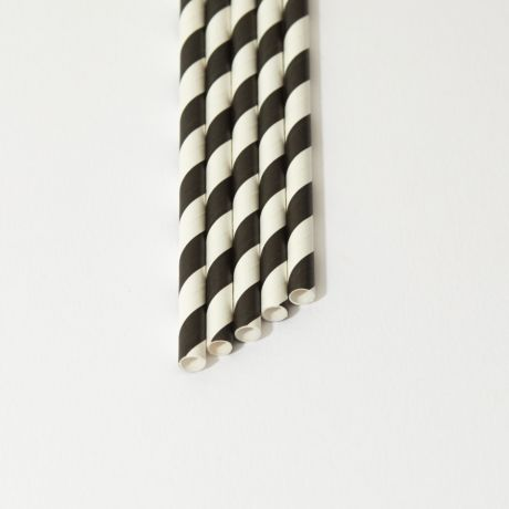 Black and White Striped Narrow Paper Drinking Straw 200x6mm - Wholesale