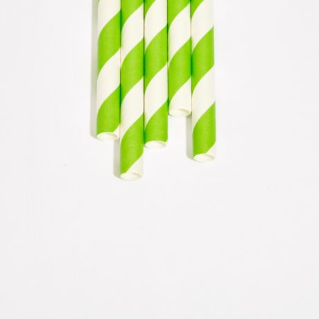 Green and White Striped Extra Long Medium Paper Drinking Straw 240x8mm - Wholesale