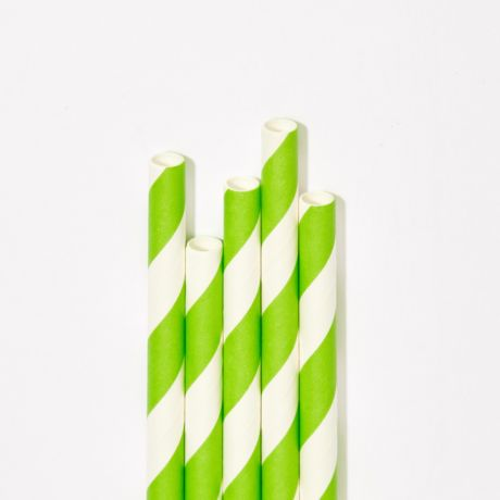 Green and White Striped Extra Long Narrow Paper Drinking Straw 240x6mm - Wholesale