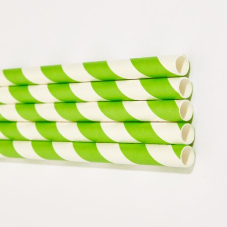 Green and White Striped Extra Long Wide Paper Drinking Straw 240x10mm - Wholesale
