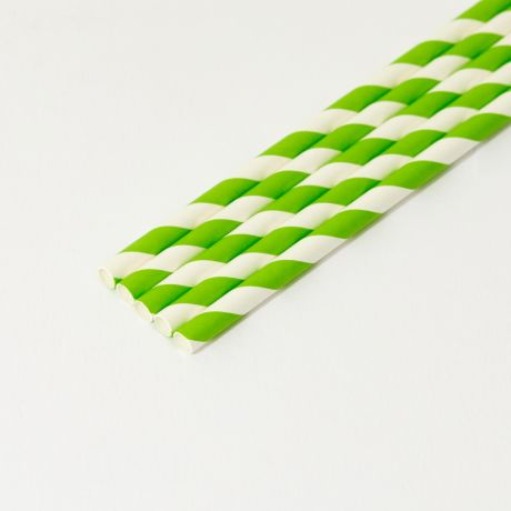 Green and White Striped Medium Paper Drinking Straw 200x8mm - Wholesale