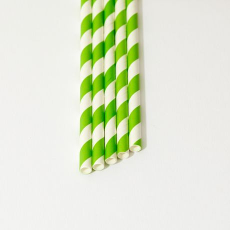 Green and White Striped Narrow Paper Drinking Straw 200x6mm - At Home and Party Use