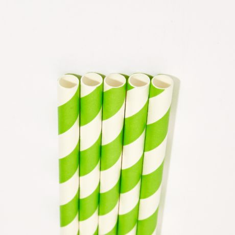 Green and White Striped Wide Paper Drinking Straw 200x10mm - Wholesale