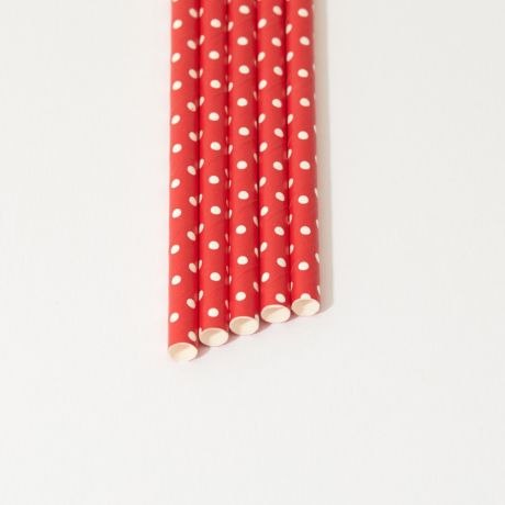 Red and White Spotted Narrow Paper Drinking Straw 200x6mm - At Home and Party Use