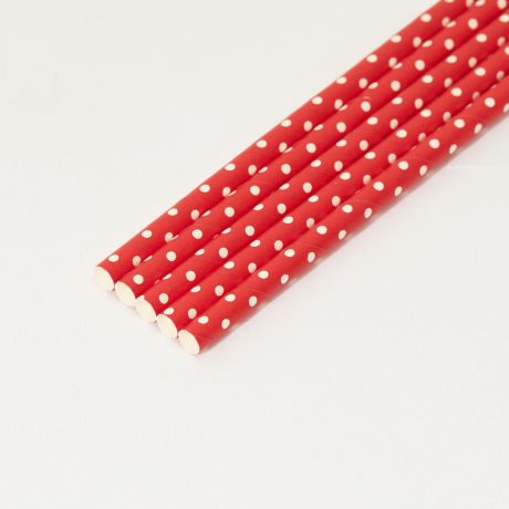 Red and White Spotted Medium Paper Drinking Straw 200x8mm - At Home and Party Use