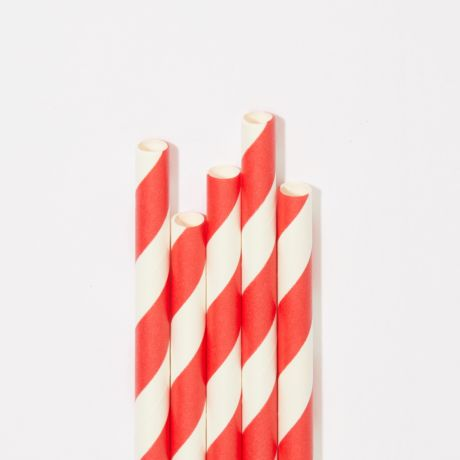 Red and White Striped Extra Long Narrow Paper Drinking Straw 240x6mm - Wholesale