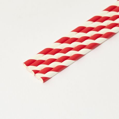 Red and White Striped Medium Paper Drinking Straw 200x8mm - Wholesale