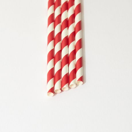 Red and White Striped Narrow Paper Drinking Straw 200x6mm - Wholesale