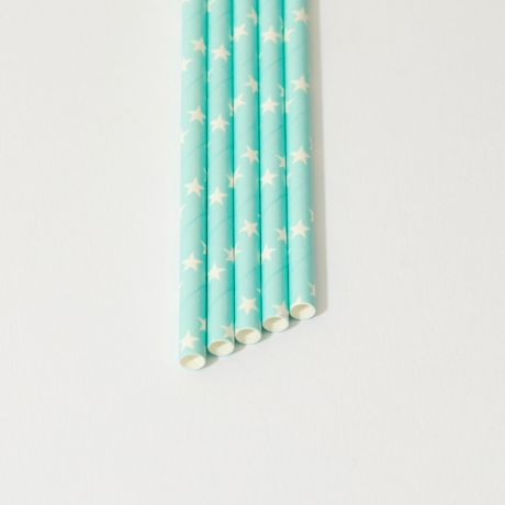 Turquoise and White Star Narrow Paper Drinking Straw 200x6mm - At Home and Party Use