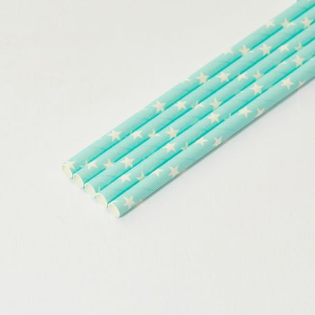 Turquoise and White Star Medium Paper Drinking Straw 200x8mm - At Home and Party Use