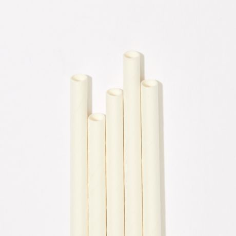 White Extra Long Narrow Paper Drinking Straw 240x6mm - Wholesale